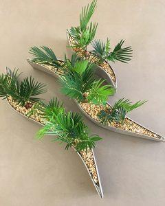 Cycas pálmák modern hullámpala kaspóban