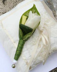 Vőlegény kitűző fehér tulipánból gyűrűpárnán