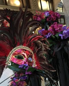 Carnival hotel decoration with masks