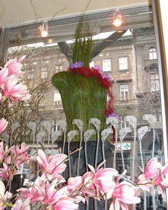 Fleurt shop window decoration with grass