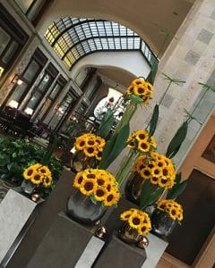 Sunflower lobby decoration in the Four Seasons Hotel