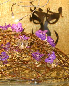 Creative hotel reception decoration with vanda orchids