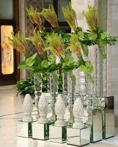 Lobby deco from Eremurus and anthurium flowers