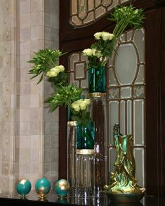 Hotel reception decoration from roses
