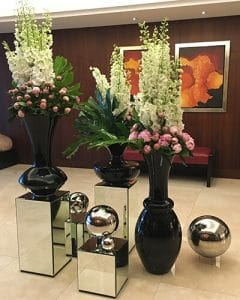 Hotel lobby decoration with delphinium and peonies