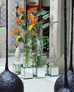 Hotel lobby deco with strelitzia and chrysanthemums