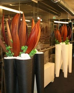 Interior decoration with coconut leaves and red dry flowers