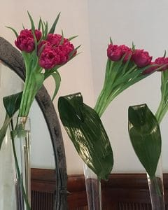Tulip bouquets decorating family home