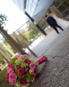 Bridal bouquet green-pink