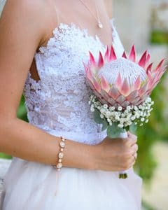 Bridal bouquet from protea