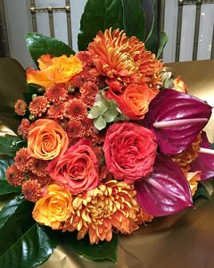 Burgundy and orange mother's bouquet