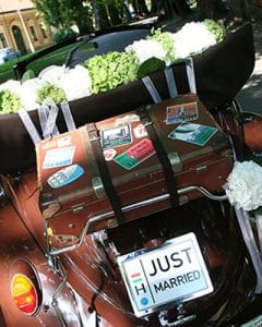 Beatle decoration for wedding with hydrangea garland