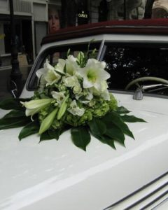 Wedding car decoration with lilies