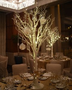 Tall wedding table decoration - White enchantment tree with crystals