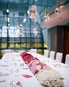 Ombre wedding main table decoration