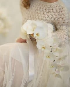 White wedding bouquet made of phalaenopsis orchids