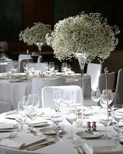 magas esküvői asztaldísz rezgőből