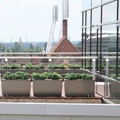 Növénydekoráció modern épület felső teraszán virágládákkal